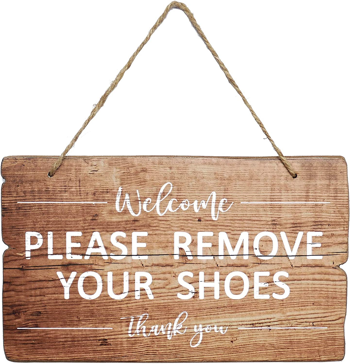 NIKKY HOME Wooden Wall Decorative Sign - Welcome Please Remove Your Shoes Thank You - 11 x 6 Inches