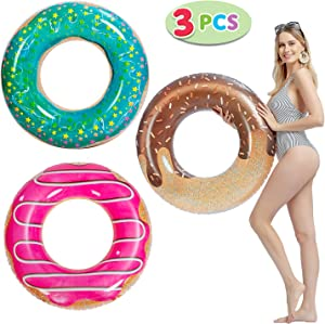 """JOYIN Donut Pool Float with Glitters 32.5"""" (3 Pack), Funny Pool Tube Toys for Swimming Pool Party and Donut Party Decorations"""