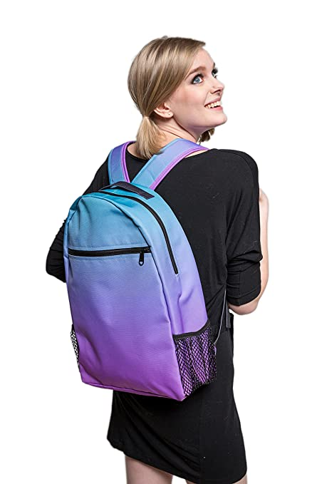 Custom Ombre Unicorn Blues Print Backpack - Design Your Own Backpack