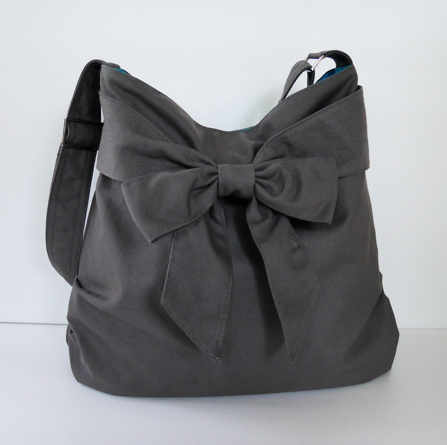 Virine grey shoulder bag, cross body bag, messenger bag, everyday bag, handbag, travel bag, tote, bow, women - JENNIFER