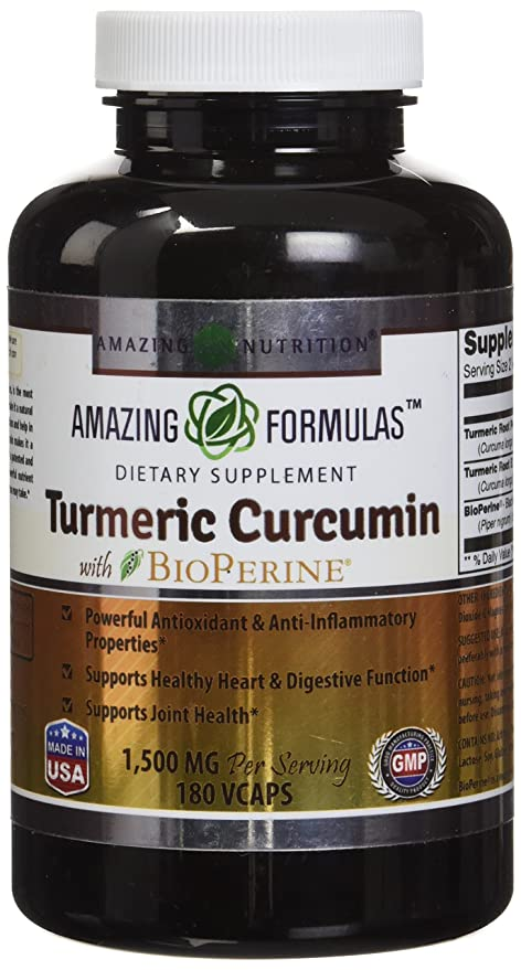 Amazing Formulas Turmeric Curcumin with Bioperine 1500 MG 180 Vegetarian Capsules