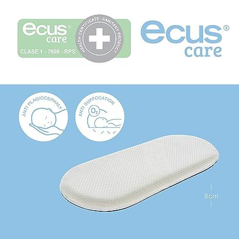 Ecus Care, Colchón para minicuna capazo, con certificado sanitario para prevenir la plagiocefalia, 72 cm x 33 cm.