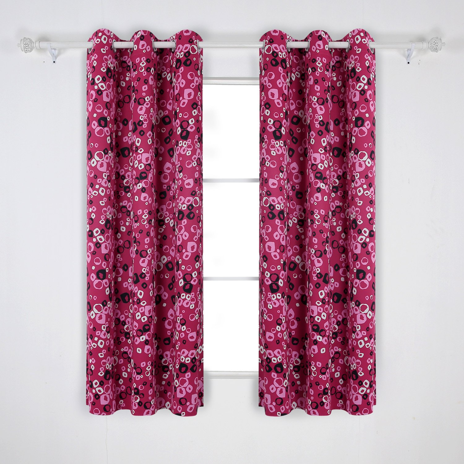 Pink and Rose Deconovo Thermal Insulated Blackout Curtains Grommet Curtains Bubbles Circle Printed for Children Room