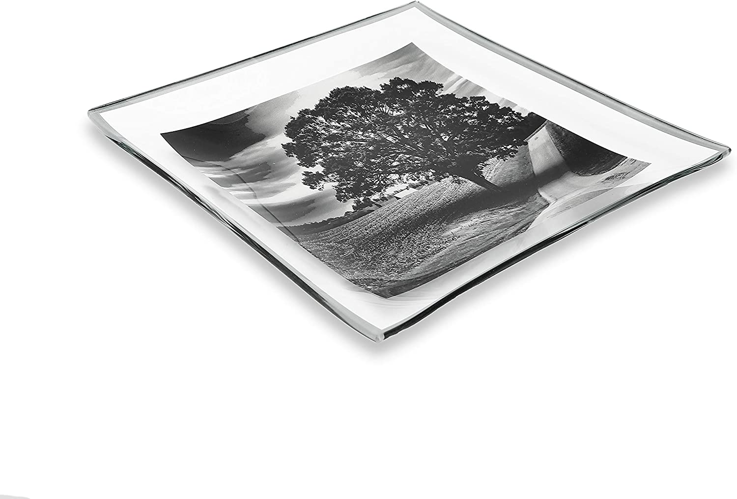 GAC Unique Landscape Design Square Tempered Glass Serving Plates – 10.5 Inch – Set of 2 – Break Resistant – Oven Proof - Microwave and Dishwasher Safe – Attractive Charcoal Colored Dinner Plate Set