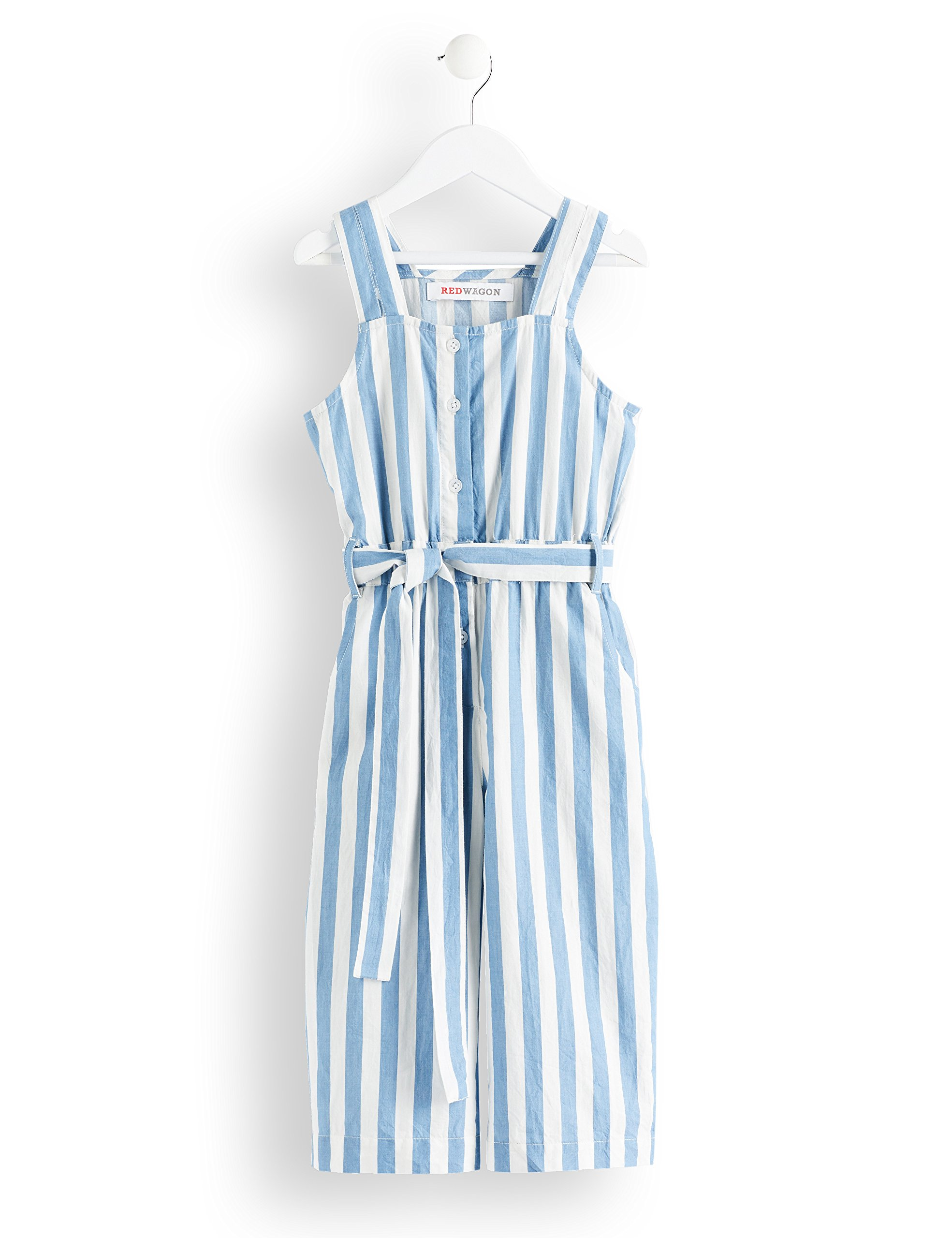 RED WAGON Girl's Striped Waist Tie Jumpsuit, White (Blue and White), 110 (Manufacturer Size: 5 Years)