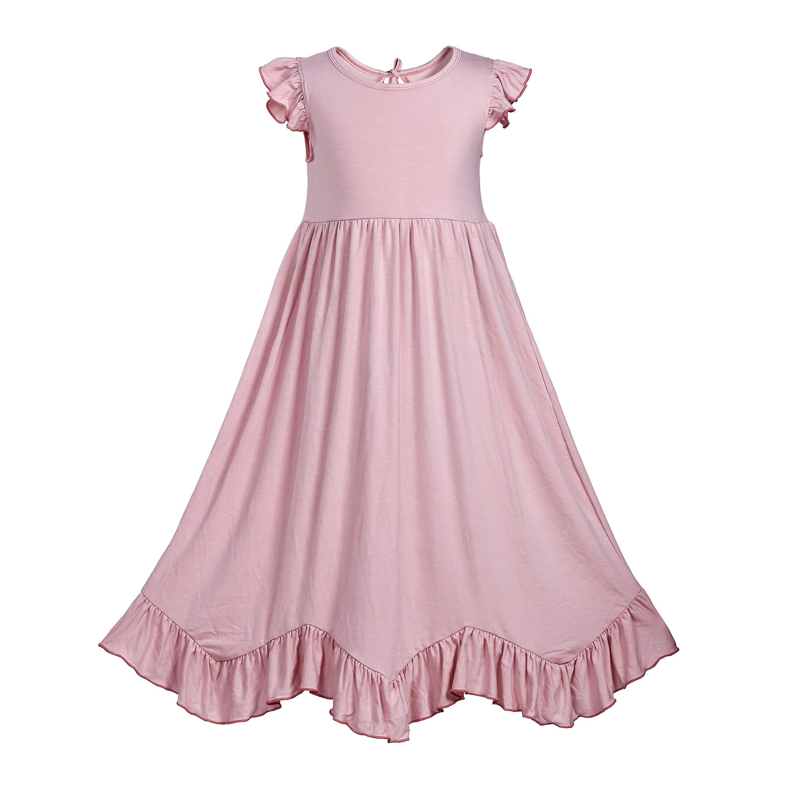 Everweekend Girls Ruffles Maxi Dress Pink Color Halter Lace Fly Sleeve Cotton Party Dress Skirts (Pink-One Layer, Adult)