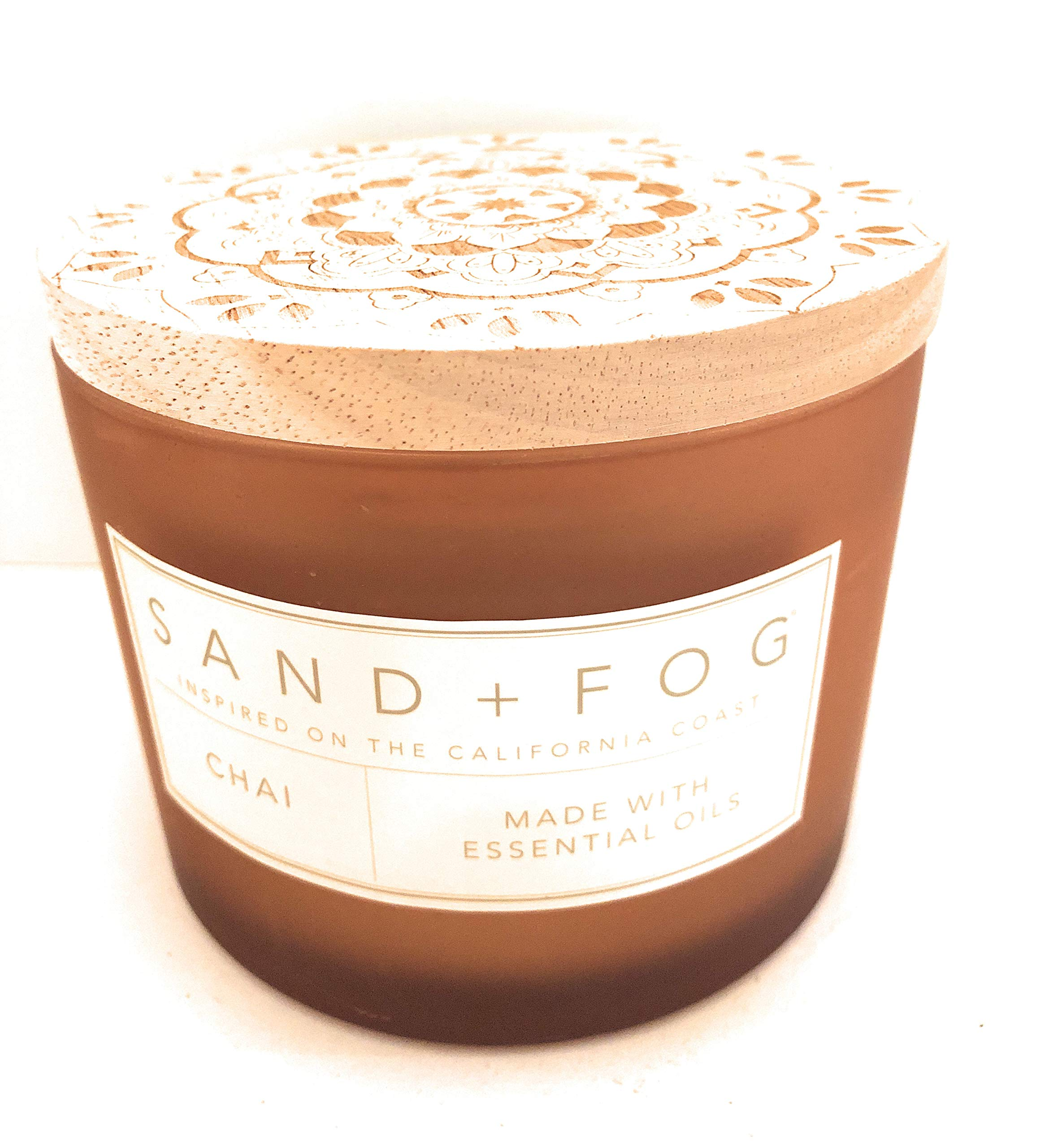 Sand And Fog Chai Double Wick Essential Oils Candle with Lid 12 oz