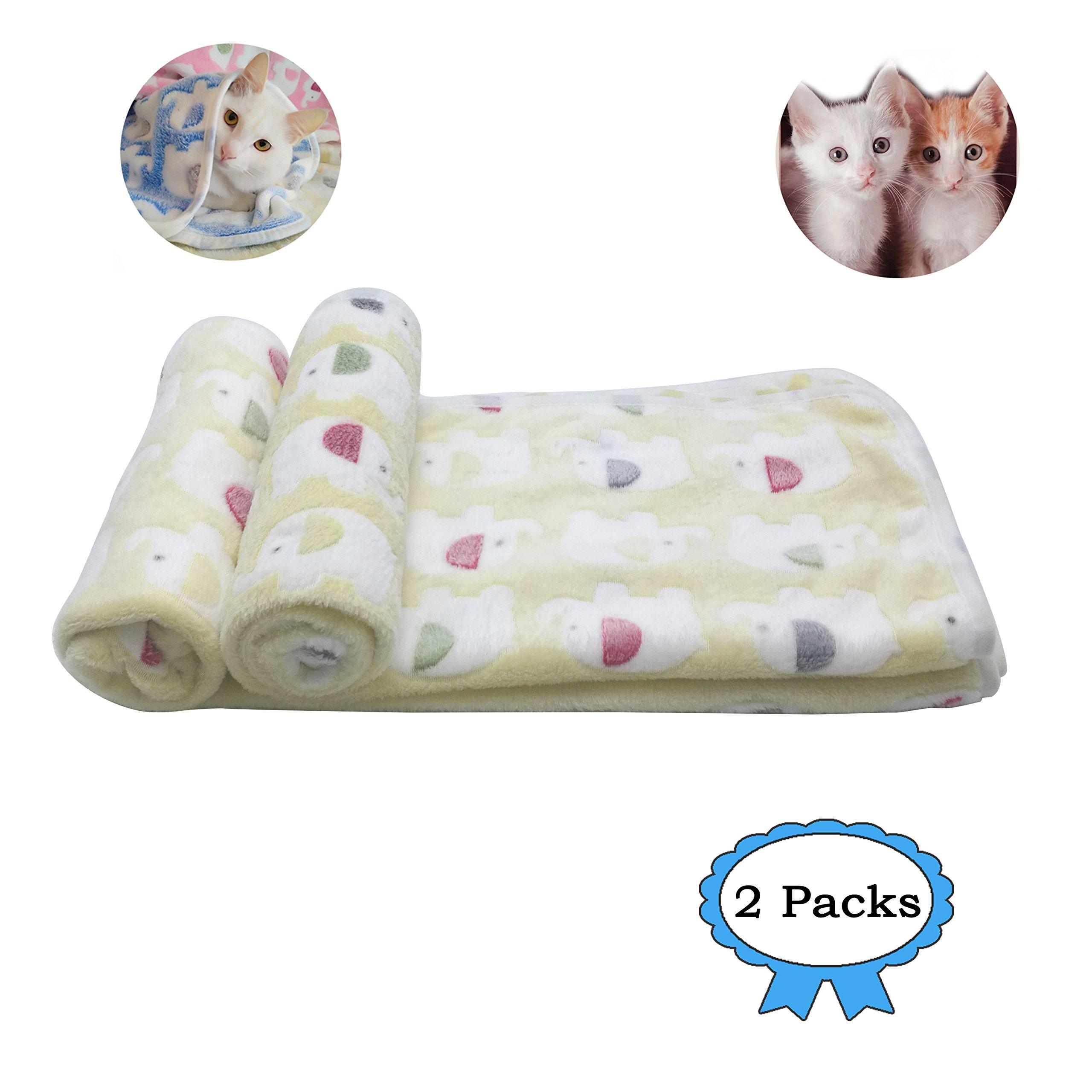 2 Packs Large 43'' x 35'' Cat Blanket Yellow Soft Warm Fleece Throw Blanket Pet Dog Blanket Fleece Puppy Blanket Cushion Ultra Light Comfortable Soft Warm Sleep Mat by Yizhi Miaow (Image #1)