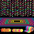 127ft Neon Party Supplies Set, 6 Colors 98.4ft UV Blacklight Reactive Tape, 29ft Neon Paper Garlands Circle Dots Stars Hanging Decorations for Birthday Wedding Glow Party Decorations