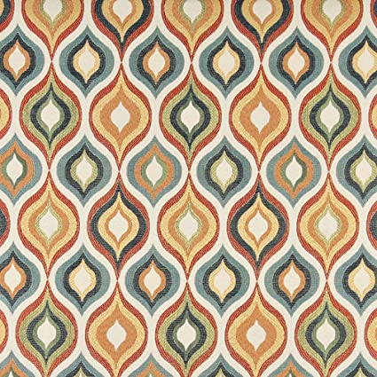 Amazon Com Aqua Red Gold Beige And Coral Teardrop Pattern