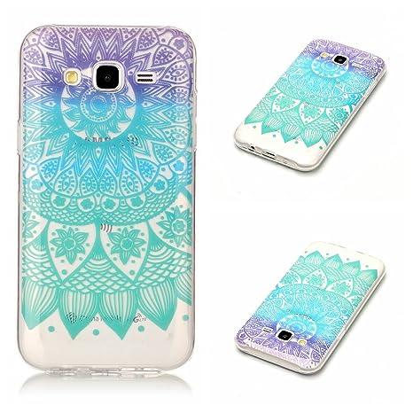Qiaogle Teléfono Caso - Funda de TPU Silicona Carcasa Case Cover para Samsung Galaxy J5 2015 (5.0 Pulgadas) - XS38 / Azul Mandala