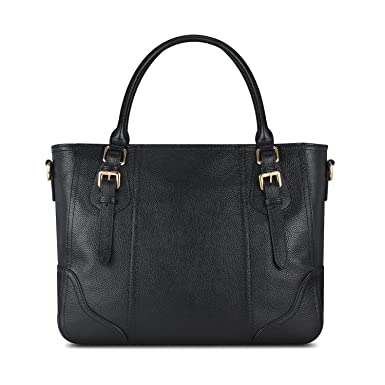 f2d6236d90 Amazon.com  Kattee Vintage Genuine Soft Leather Shoulder Handbag Black   Shoes