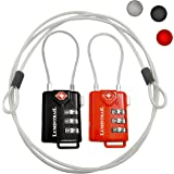 2 Pack Lumintrail TSA Approved All Metal Personalized International Luggage Combination Travel Lock with 4-ft Steel Cable, for Suitcase and Baggage - Assorted Colors