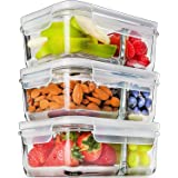 Prep Naturals Glass Meal Prep Containers Glass 2 Compartment (3 Pack) - Glass Food Storage Containers - Glass Storage Contain