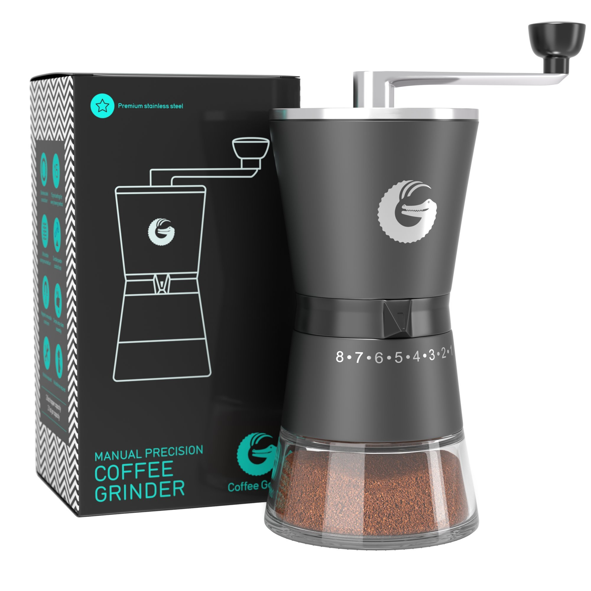 Coffee Gator Precision Conical Burr Grinder - Premium Stainless Steel Manual Hand Mill