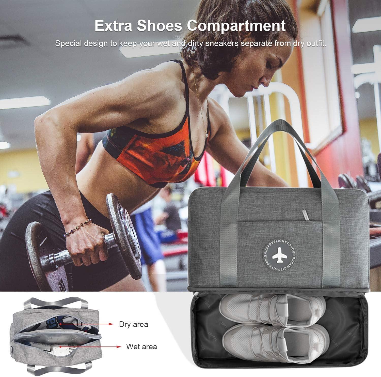 Bolsa de Viaje peque/ña con Bolsillo Mojado y Compartimento para Zapatos Gris Bolsa de Equipaje de Viaje empaquetable Bolsa de Lona de Gimnasio para Hombres y Mujeres DTNO.I Bolsa de Gimnasio