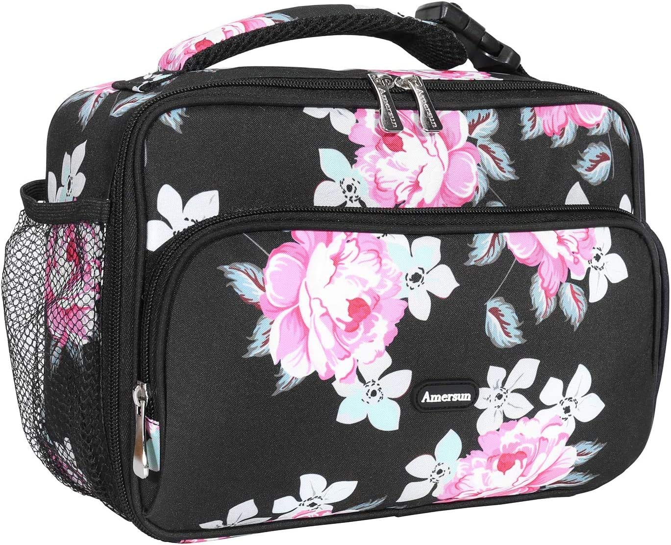 Amersun Kids Lunch Box,Durable Insulated School Lunch Bag with Padded Liner Keeps Food Hot Cold for Long Time,Small Thermal Travel Lunch Cooler for Girls Boys-2 Pocket,Black Rose