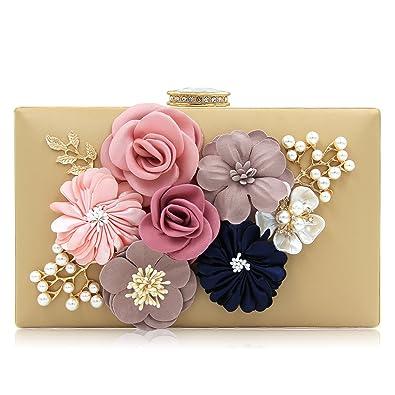 a6d463fc09 Milisente Women Flower Clutches Evening Bags Handbags Wedding Clutch Purse  (Beige)