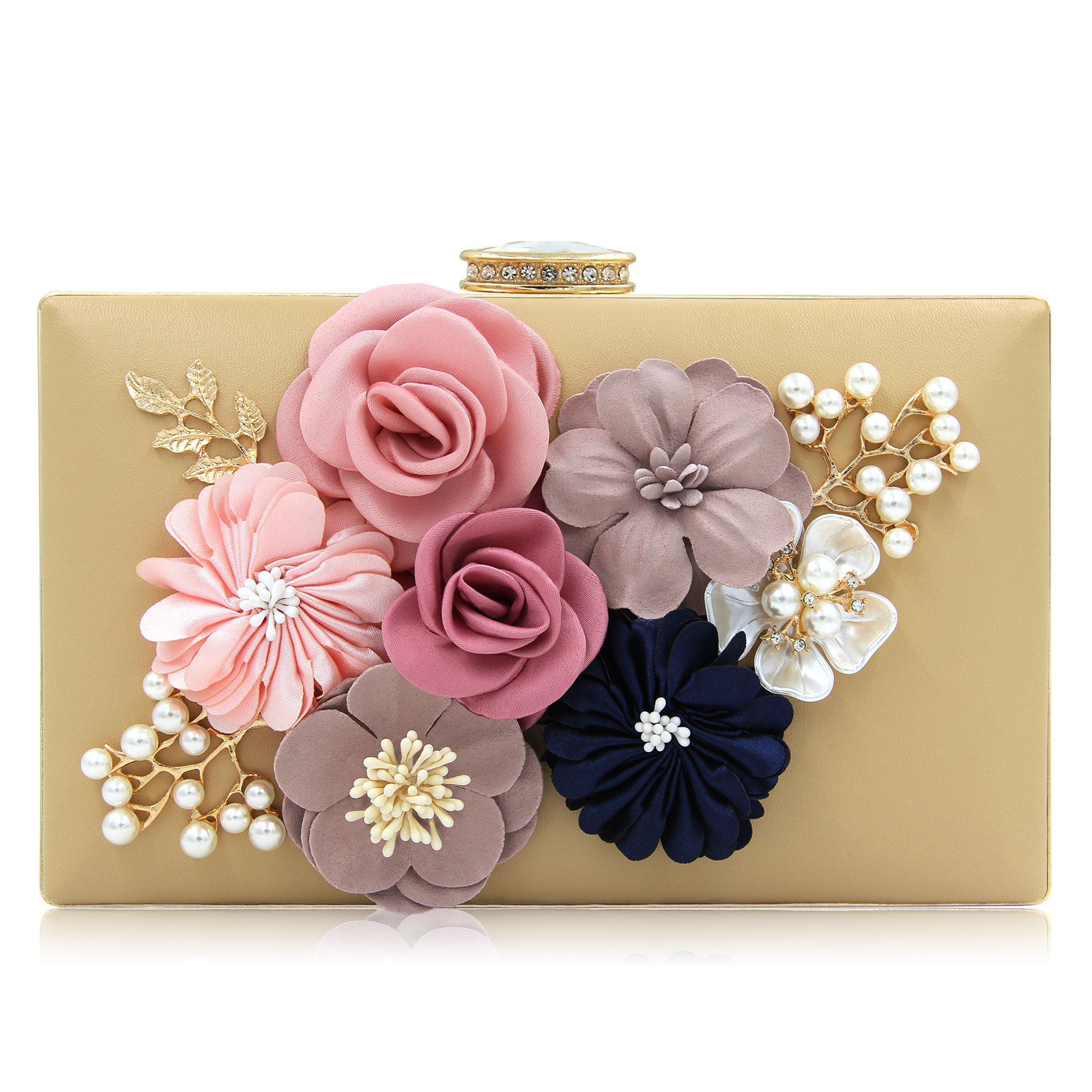 Milisente Women Flower Clutches Evening Bags Handbags Wedding Clutch Purse (Beige)