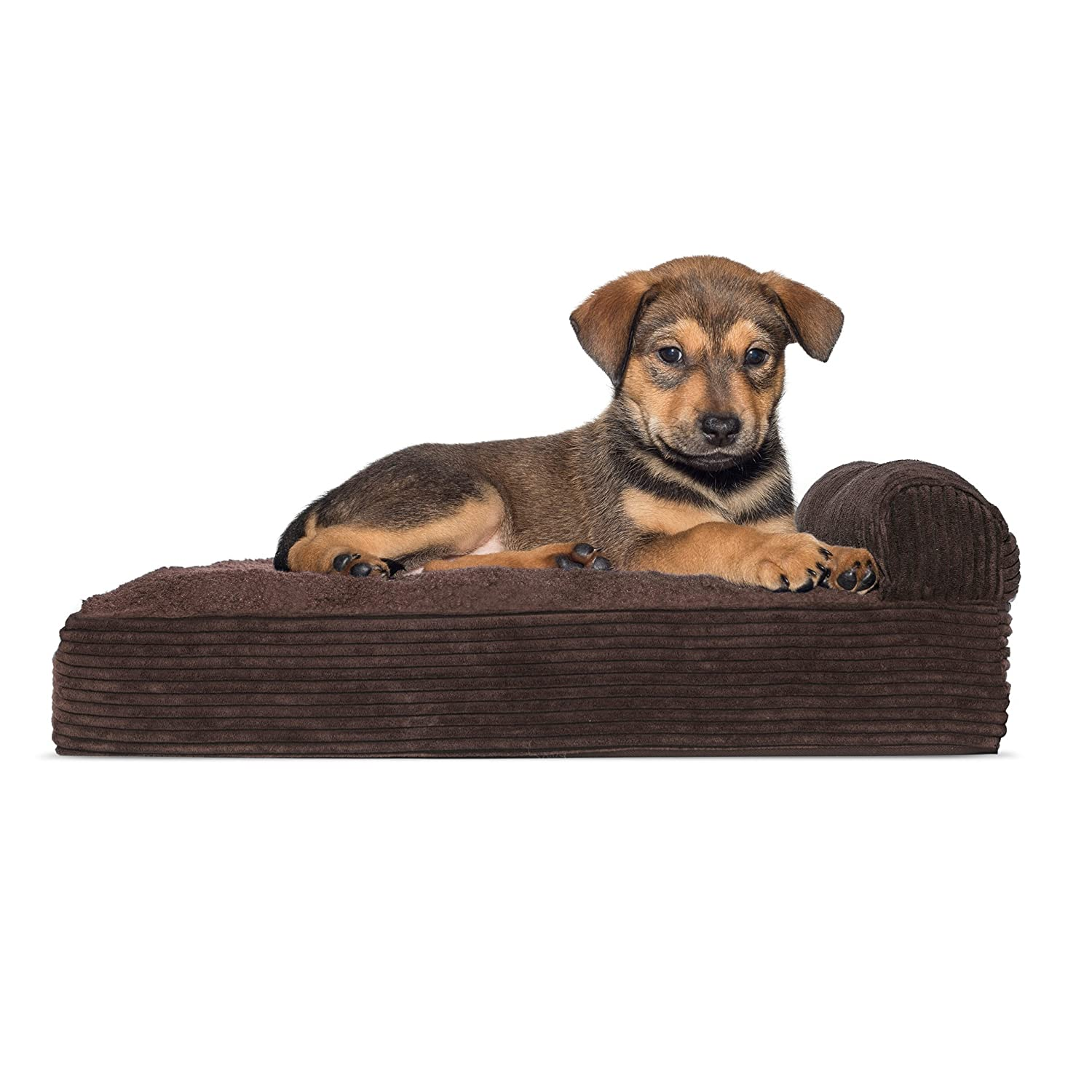One Sided  Espresso SmallFurHaven Deluxe Orthopedic Chaise Couch Pet Bed for Cats and Dogs, Medium, Fleece Espresso