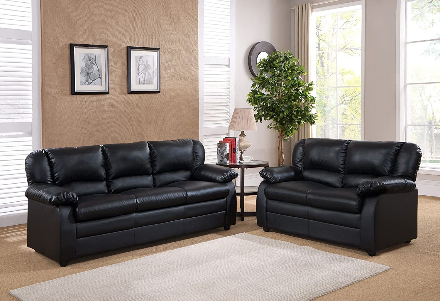 Kings Brand Furniture Vinyl Upholstered Living Room Set (Black - Sofa & Loveseat)