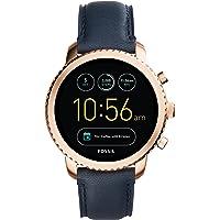Fossil Herren Smartwatch Q Explorist 3. Generation - Leder - Dunkelblau / Klassische & elegante Smartwatch im Vintage Design mit diversen Funktionen / Für Android & iOS