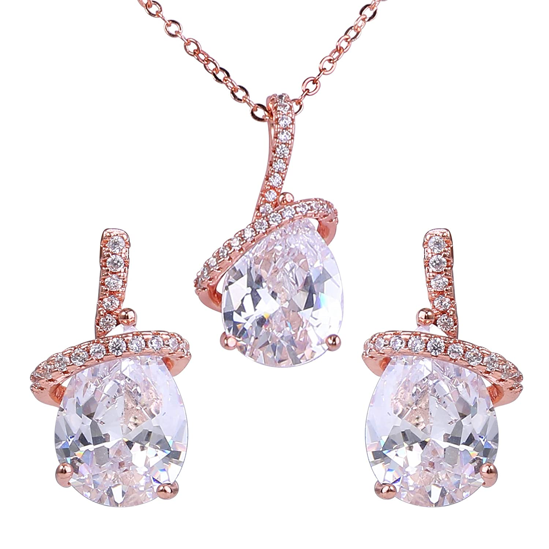 cdb452d26 Amazon.com: EleQueen Women's Rose Gold-Tone Prong Zircon Ribbon Teardrop  Bridal Pendant Necklace Dangle Earrings Set Clear: Jewelry