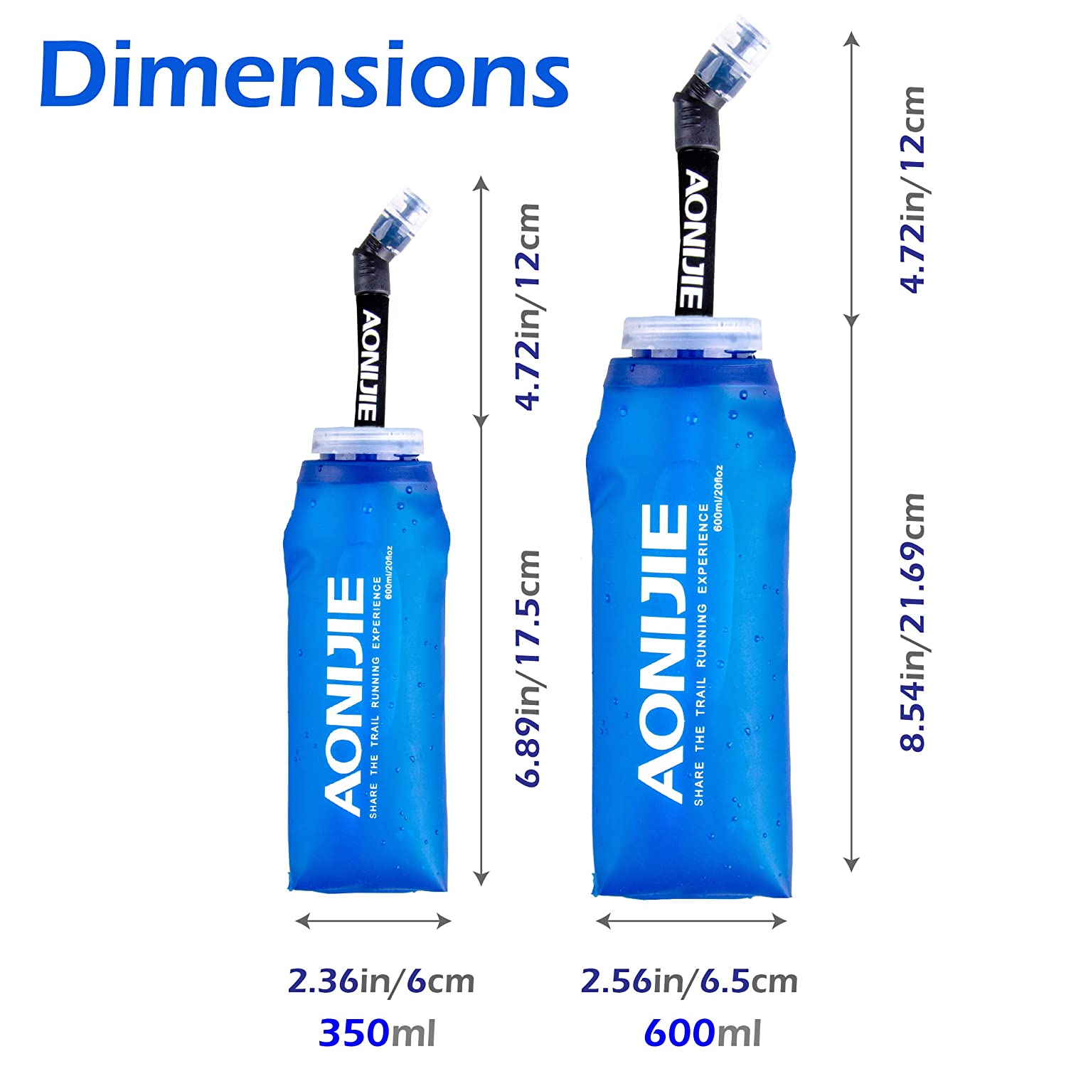 TRIWONDER TPU Soft Folding Water Bottles BPA-Free Collapsible Flask for Hydration Pack Ideal for Running Hiking Cycling Climbing