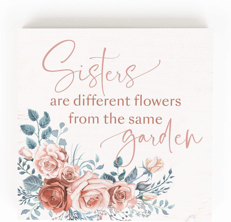P. Graham Dunn Sisters Garden Floral Cream 5.38 x 5.38 Pine Wood Tabletop Word Block Sign