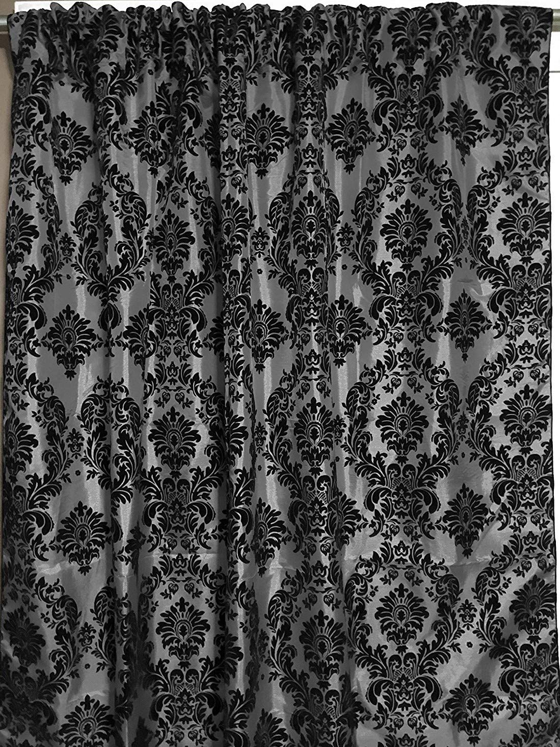 lovemyfabric Taffeta Flocking Damask Print Window Curtain Panel Stage Backdrop Photography Backdrop-Black on Silver 2, 56 X120