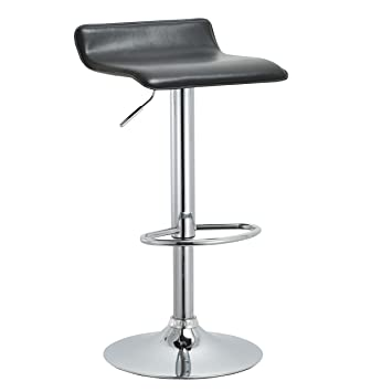 Marvelous Ac Pacific Contemporary Backless Height Adjustable Swivel Barstool With Footrest 22 30 Black Squirreltailoven Fun Painted Chair Ideas Images Squirreltailovenorg