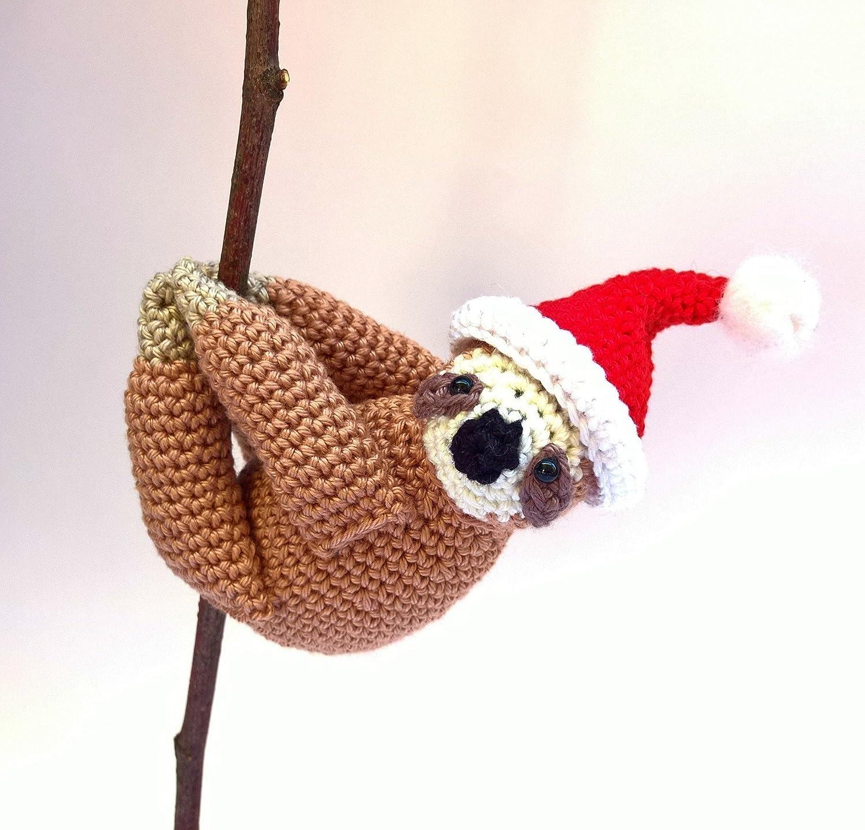 Santa sloth Funny Christmas ornament Christmas stuffed sloth animal