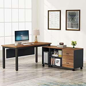 Tribesigns L-Shaped Computer Desk with Storage Drawers Cabinet Set, Large Executive Office Desk with Shelves, Industrial Business Furniture Workstation for Home Office, Rustic Walnut