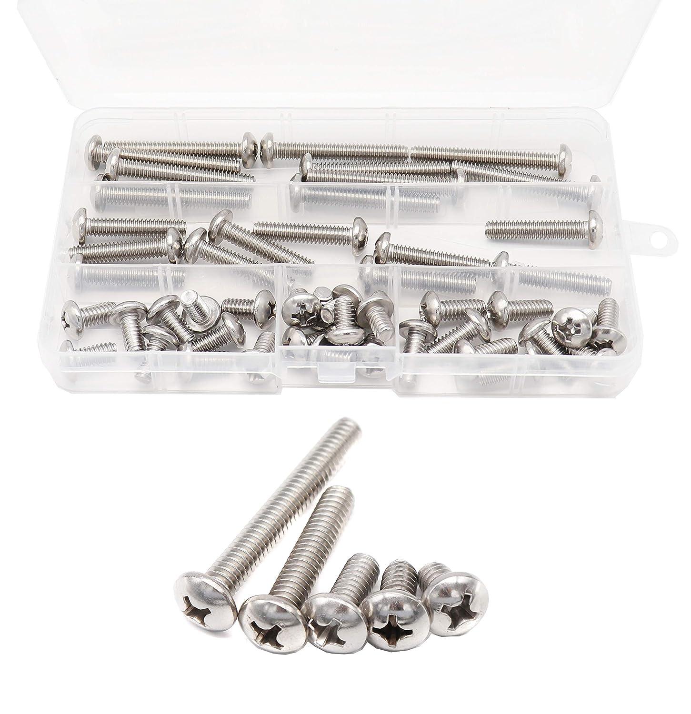 binifiMux 50pcs 1//4-20 Inch Round Head Phillips Machine Screws Assortment Kit 304 Stainless Steel
