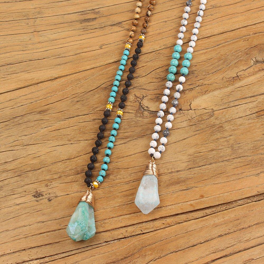 VEINTI+1 Bohemia Style Semi Precious Gemstone Beads with Natural Waterdrop Shape Stone Womens Long Necklace Chain