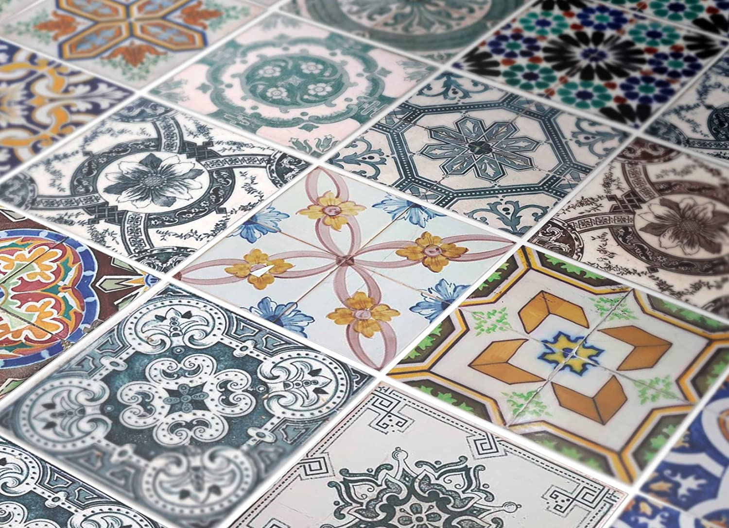 Amazon tiles stickers decals packs with 48 tiles 39 x 39 amazon tiles stickers decals packs with 48 tiles 39 x 39 inches wall art tile sticker portuguese tiles pattern decal home kitchen dailygadgetfo Choice Image
