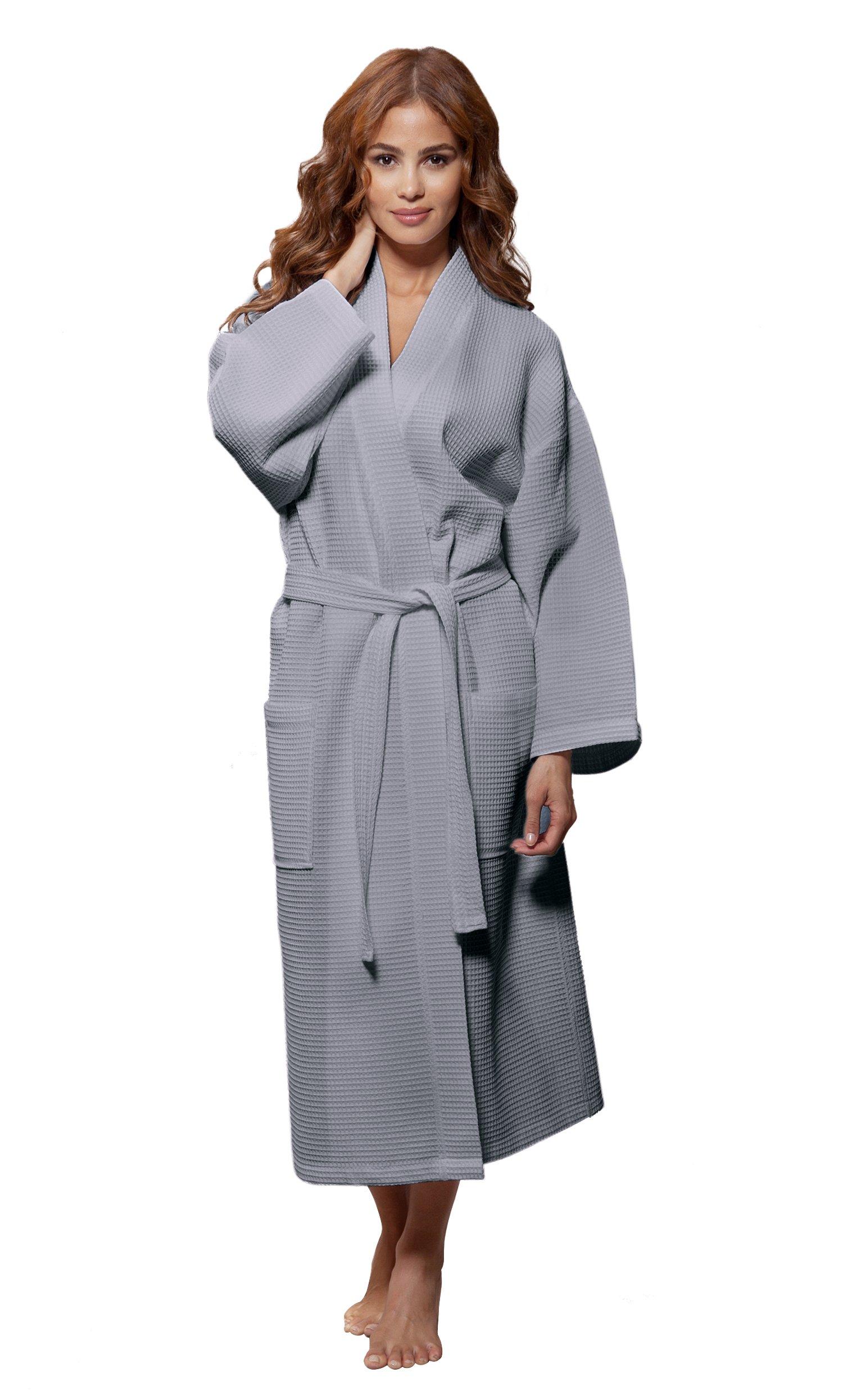 35bd06955f Turquaz Linen Lightweight Long Waffle Kimono Unisex Spa Robe (XXL ...