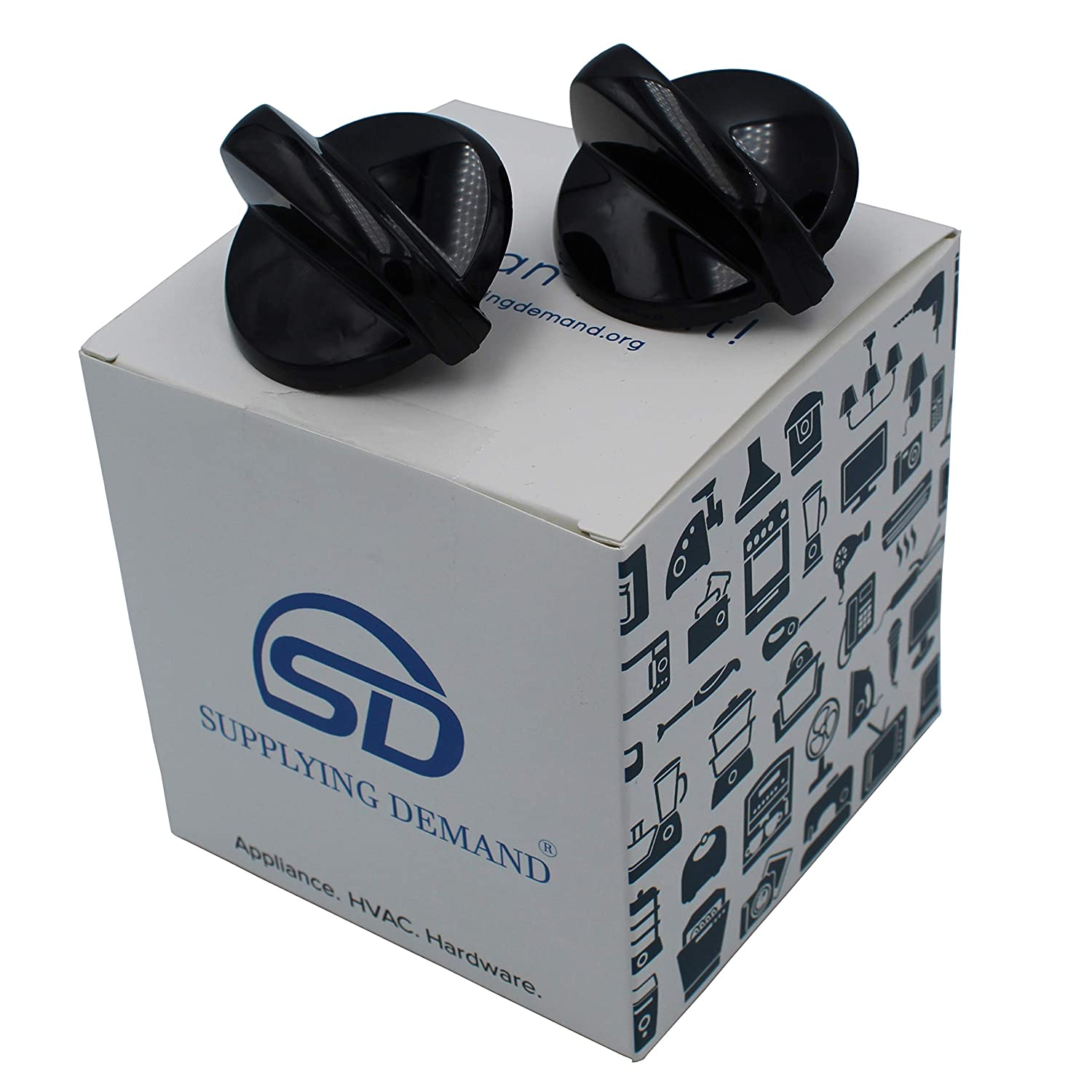 Supplying Demand WB03K10216 Black Knob Minivalve 2 Pack Compatible With GE Compatible With Hotpoint