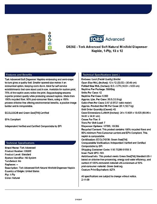 Tork Advanced D826E Soft Minifold Dispenser Napkin, Embossed, 1-Ply, 12