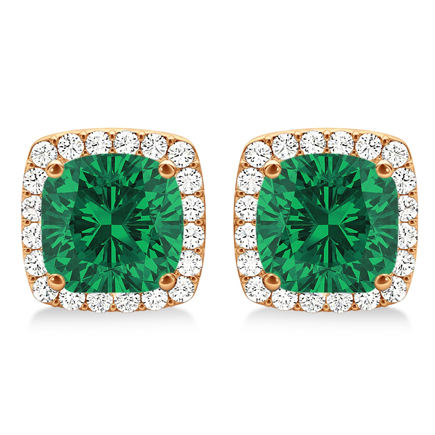 Amazon Com Cushion Cut Emerald And Diamond Halo Earrings 14k Rose