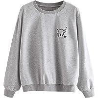 MAKEMECHIC Women's Long Sleeve Graphic Print Casual Pullover Crop Sweatshirt
