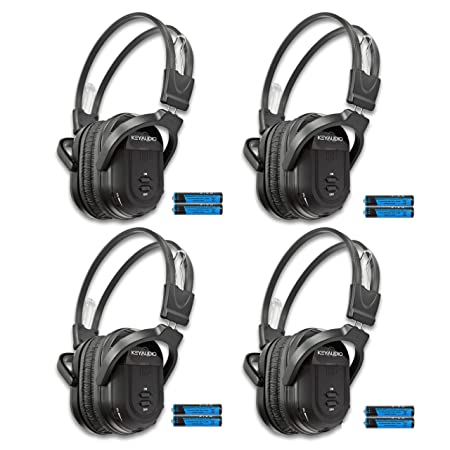 KeyAudio 2 Channel Folding IR Wireless Headphones for in Car DVD TV Audio Video Rear Entertainment Systems Includes 3.5mm Aux Cord – 4 Pack
