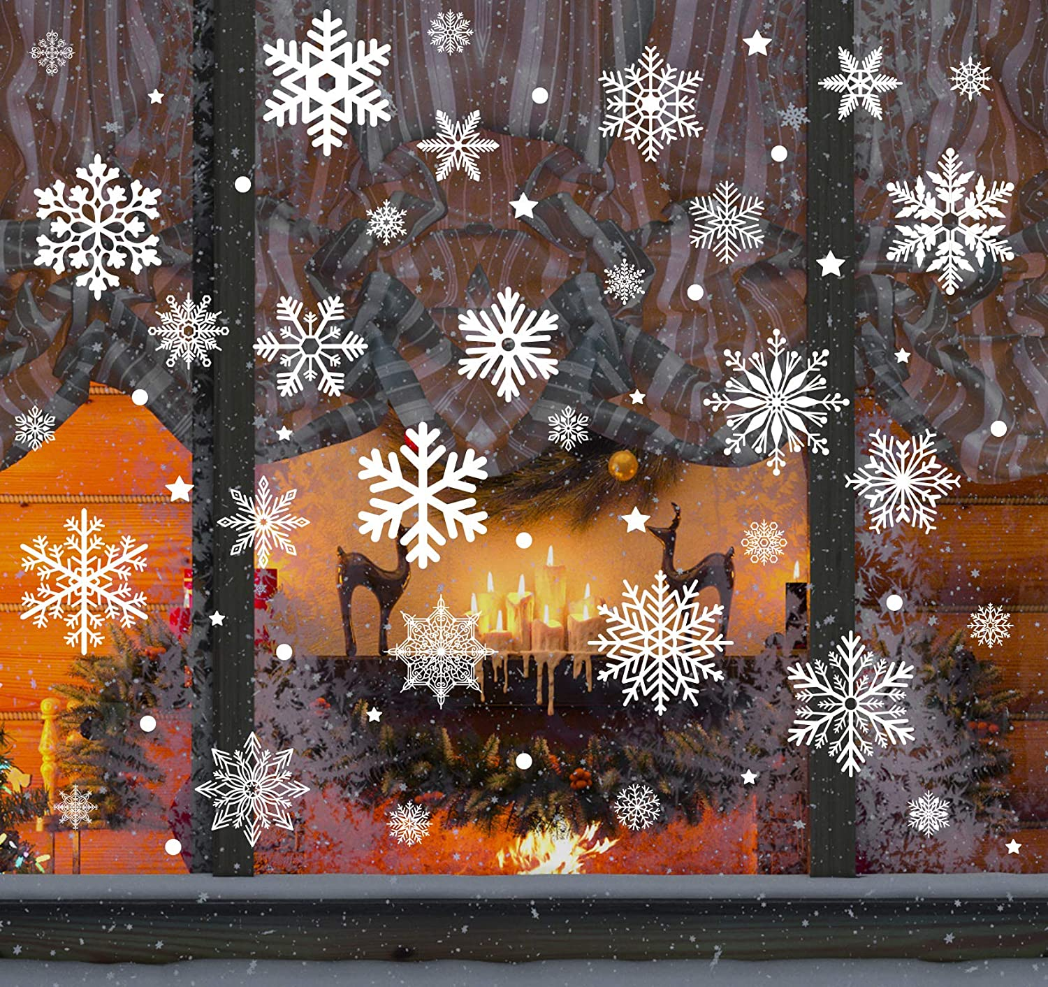140Pcs Christmas Snowflakes Window Stickers White Clings Static Snow Flakes Reusable Decals Decorations for Xmas Party Window Mirror Fireplace (8 Sheets)