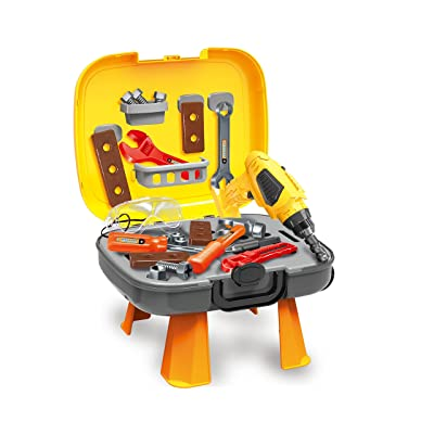 4 in 1 Tool Set 34 + 6 Bonus-Pcs Set of Construction Toys and Accessories for Kids & Toddlers Ages 3+, Realistic STEM Innovation &Learning for Boys & Girls! Bonus Ebook: Talented Kids Secrets: Toys & Games
