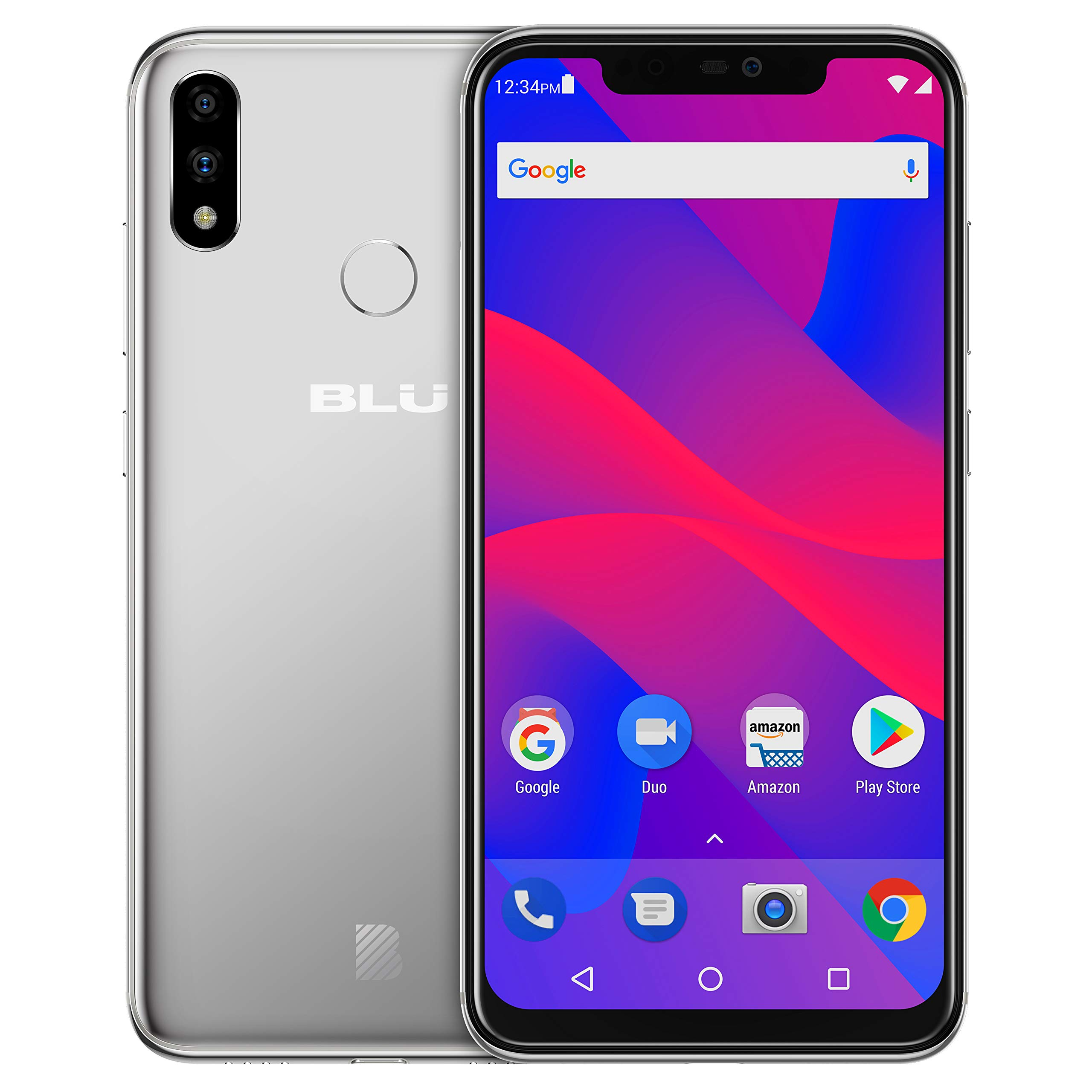 BLU VIVO XI+ - 6.2'' Full HD+ Smartphone GSM Unlocked and Verizon Compatible, 128GB+6GB RAM, AI Dual Cameras -Silver by BLU
