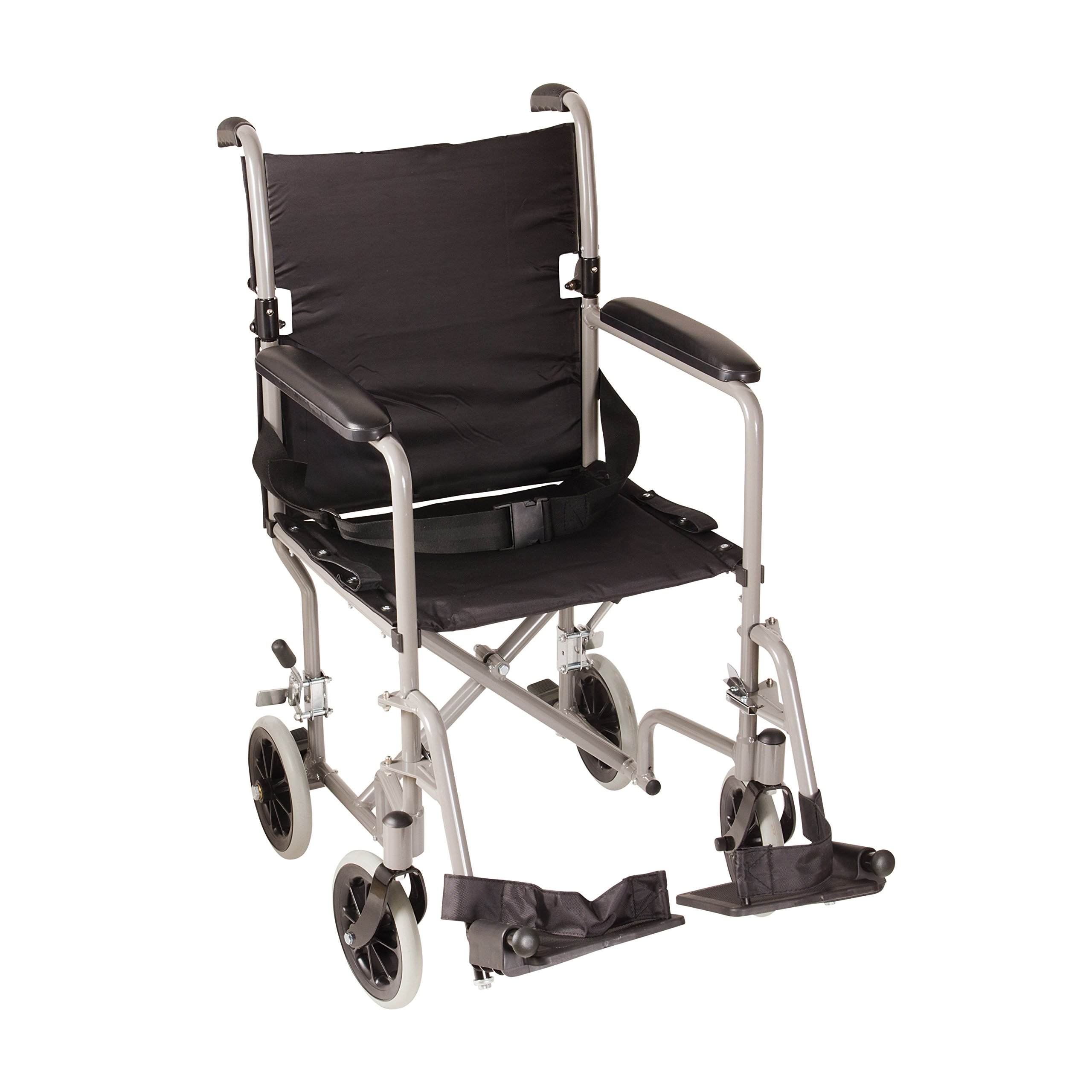 DMI Ultra Lightweight Folding Transport Chair Travel Wheelchair, Titanium
