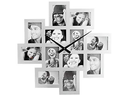 PT MDF Wall Clock/Photo Frame Cluster, Silver: Amazon.co.uk: Kitchen ...
