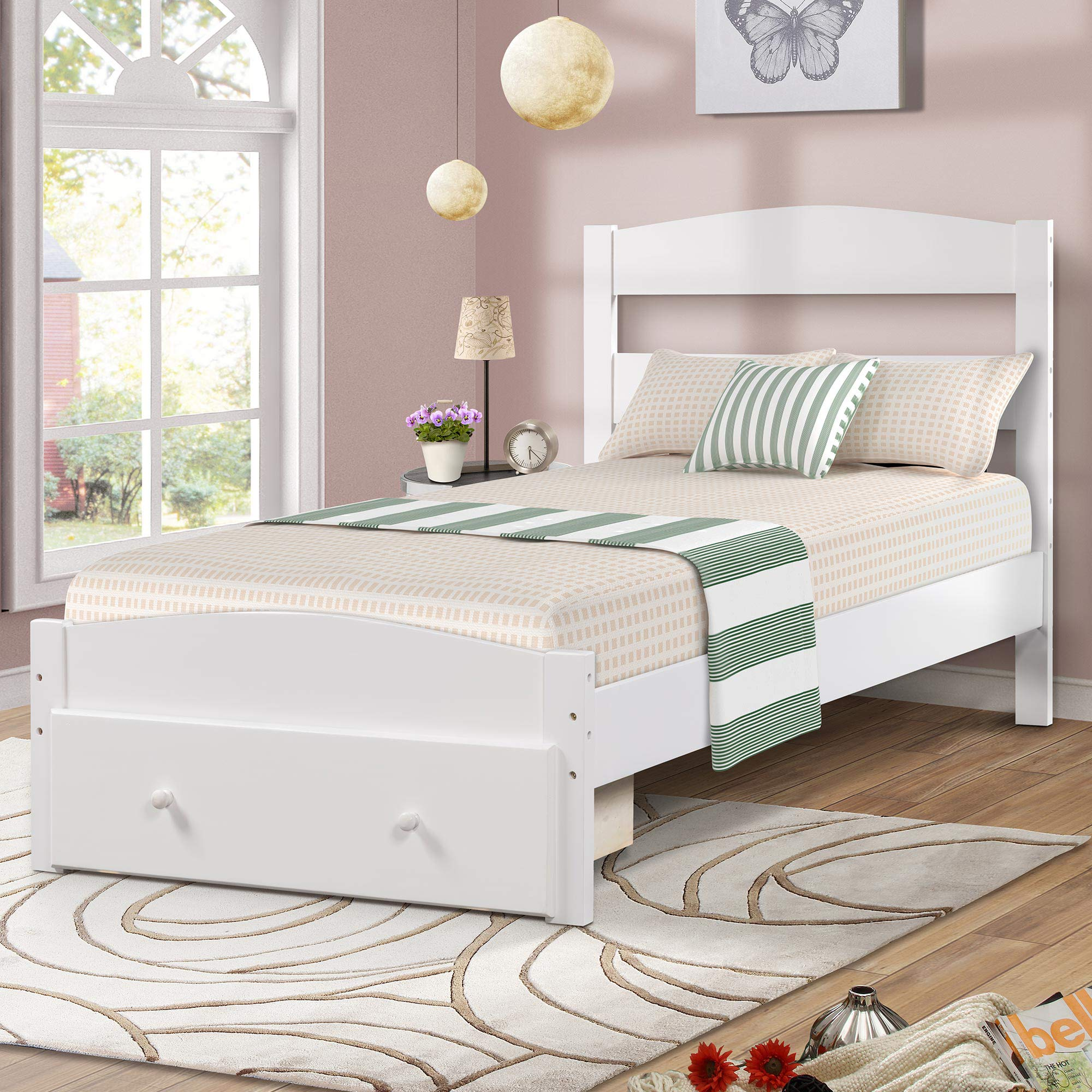 Wood Platform Bed Frame with Headboard and Storage , White Wooden Bed Frame, Twin, 78'' L x 41.7'' W X 35.5'' H, Model WF186776 by Merax