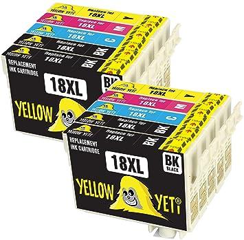 Yellow Yeti Reemplazo para Epson 18 18XL | 10 Cartuchos de tinta ...