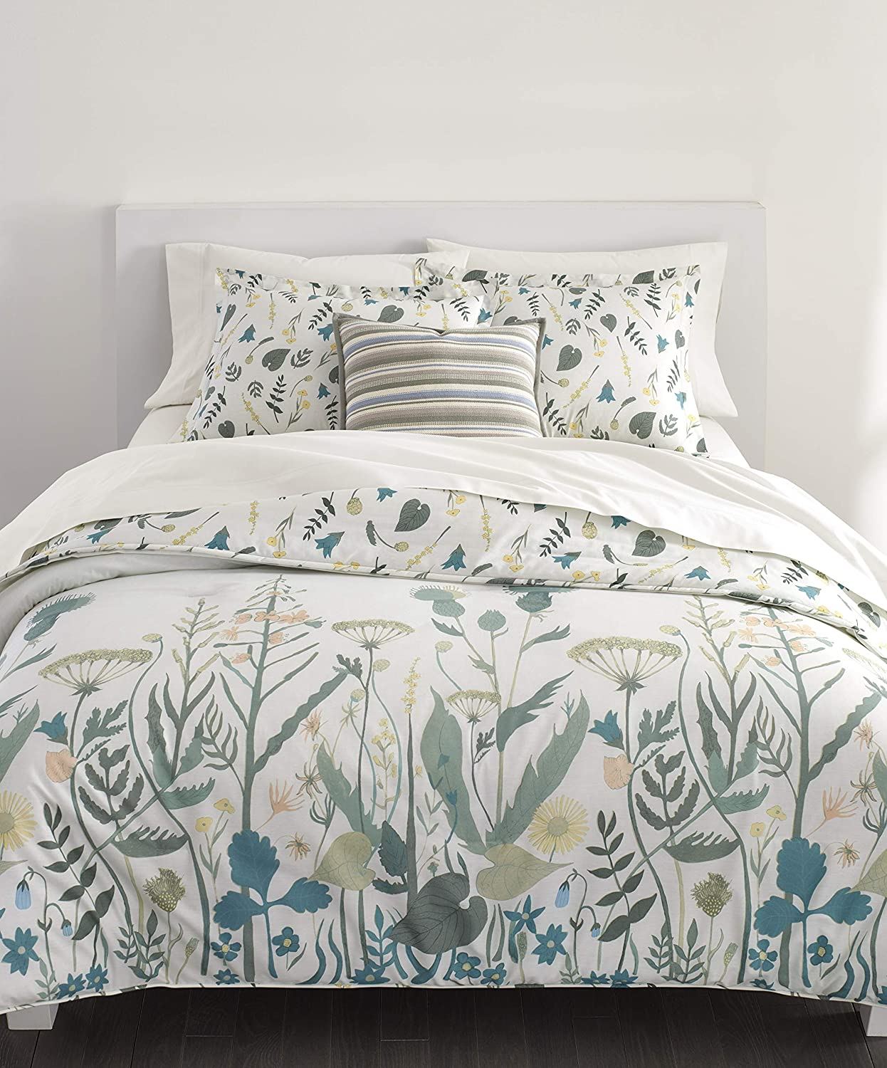Chaps Home Gainsborough Garden 100% Cotton Printed 3-Piece Reversible, Highly Breathable Comforter Set, King, Green Multi